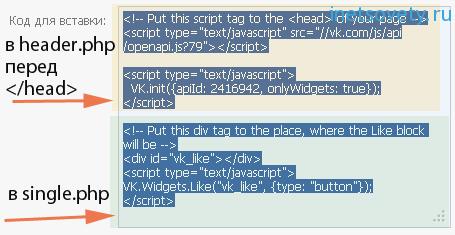 Код кнопки Вконтакте для сайта