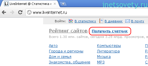 Установка счетчика статистики LiveInternet