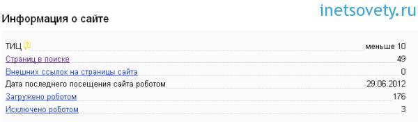 Общая информация о сайте в Яндекс.Вебмастер