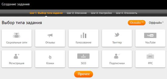 Типы заданий на Liked.ru, которые может дать рекламодатель