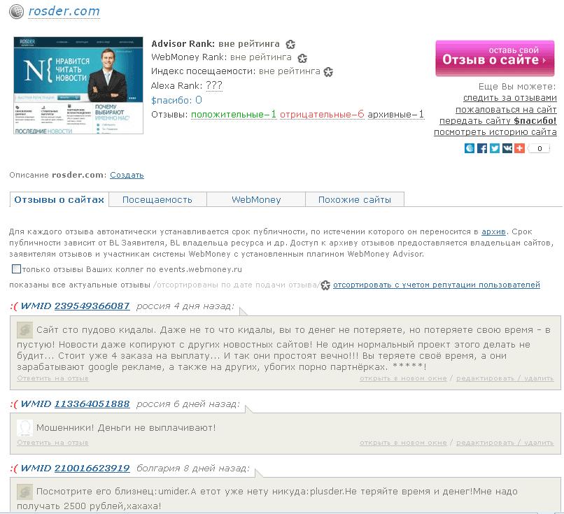 отзывы о Rosder.com