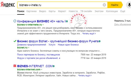 Результаты поиска в Яндексе по урл