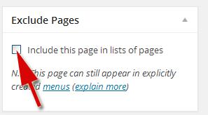 как исключить страницы с меню сайта
