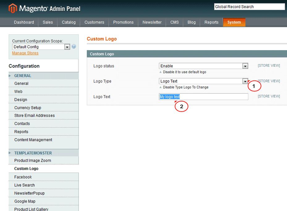 Административная панель CMS Magento