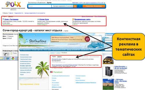 Контекстная реклама- объявление размещается и отображается внутри интернет страницы на сайте