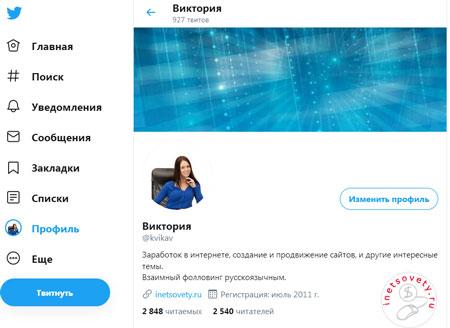 Как выглядит профиль аккаунта Твиттере