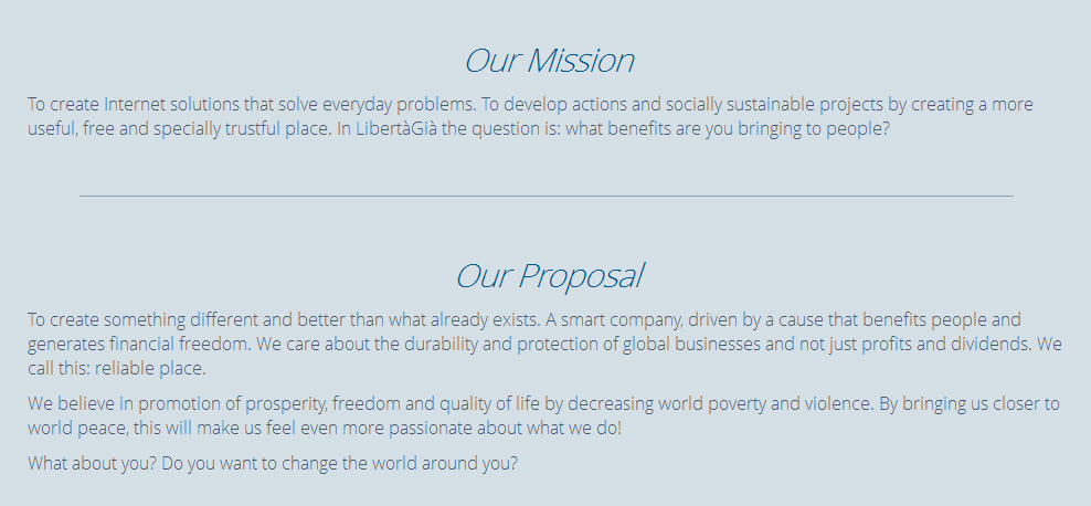 Миссия компании LibertaGia