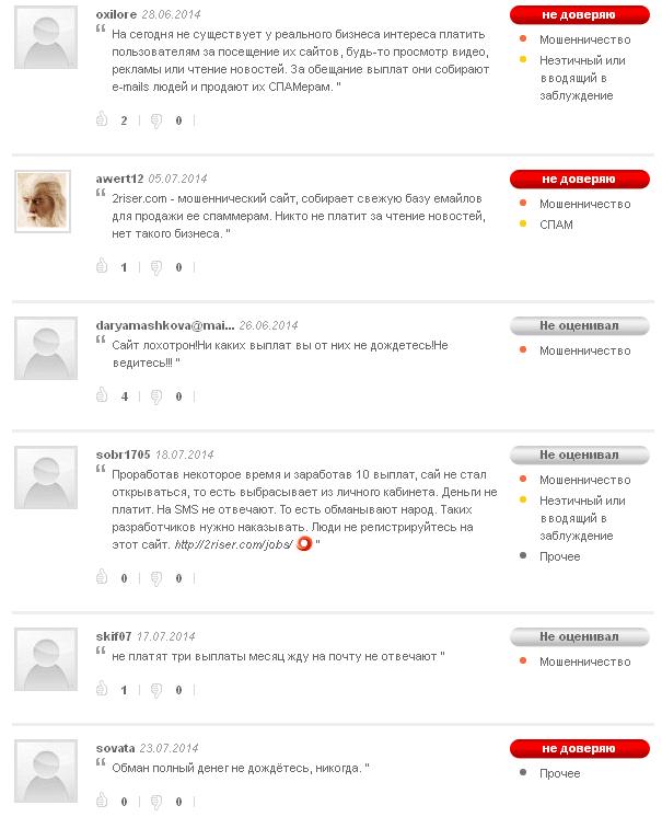 Отзывы о сайте 2riser.com в Майвот