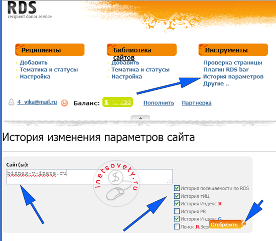 Анализ сайта сервисом recipdonor