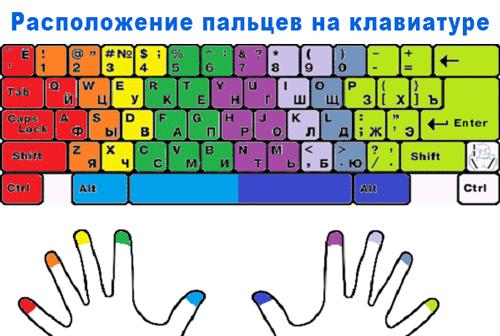 Основа метода слепого набора - правильное расположение рук на клавиатуре