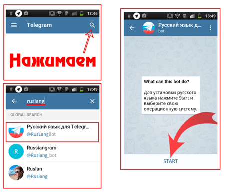 Русификация мессенджера Телеграмм