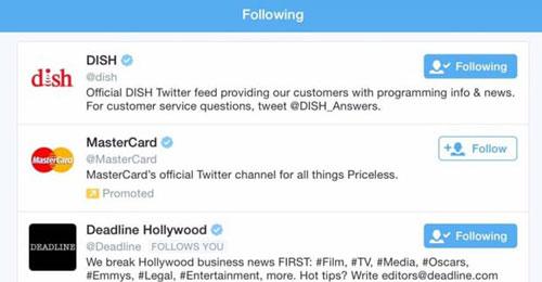 Как выглядит following страницы в Твиттере