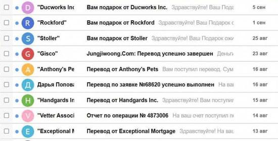 Как выглядят спам письма на электронную почту