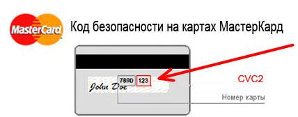 Код на обратной стороне банковской карты Мастеркард