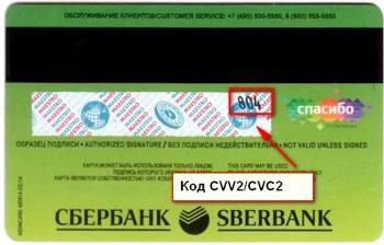 Где находится cvc2/cvv2 код на карте Сбербанка