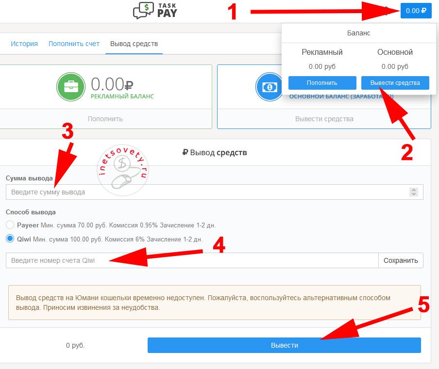 Вывод заработанных денег с TaskPay